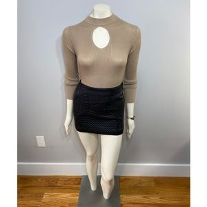 Ambiance Tan Ribbed Turtleneck with Keyhole Cutout